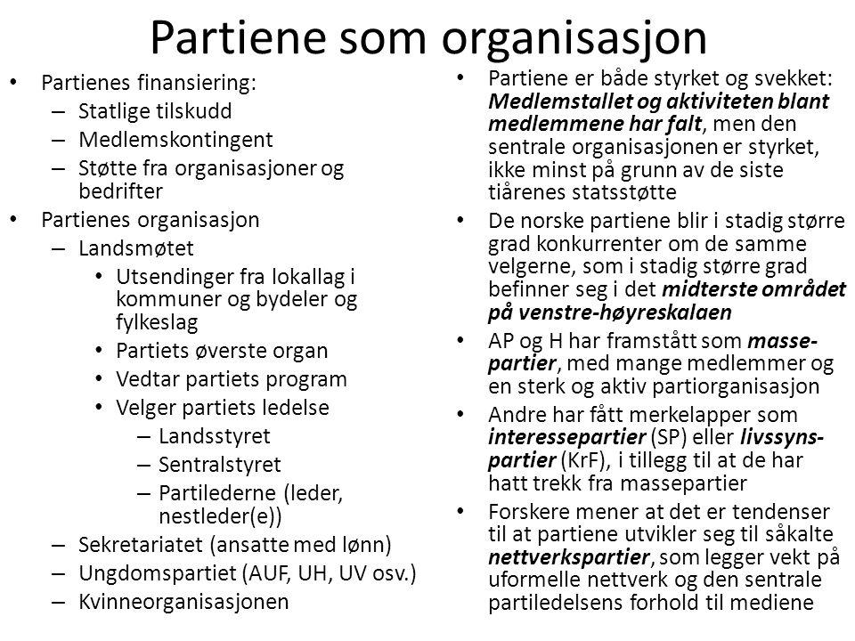 Partiene som organisasjon • Partienes finansiering: – Statlige tilskudd – Medlemskontingent – Støtte fra organisasjoner og bedrifter • Partienes organ