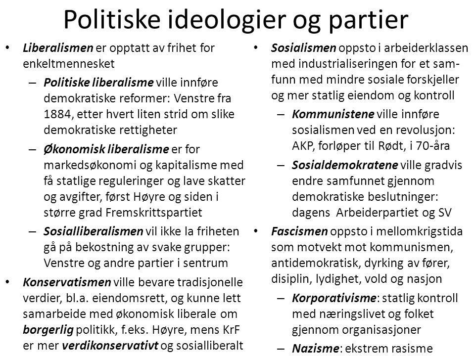Politiske ideologier og partier • Liberalismen er opptatt av frihet for enkeltmennesket – Politiske liberalisme ville innføre demokratiske reformer: V