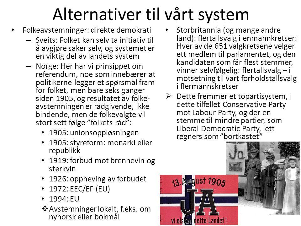 Alternativer til vårt system • Folkeavstemninger: direkte demokrati – Sveits: Folket kan selv ta initiativ til å avgjøre saker selv, og systemet er en