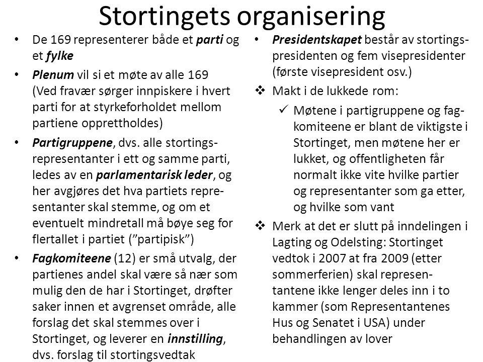Stortingets organisering • De 169 representerer både et parti og et fylke • Plenum vil si et møte av alle 169 (Ved fravær sørger innpiskere i hvert pa