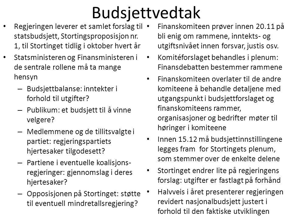Budsjettvedtak • Regjeringen leverer et samlet forslag til statsbudsjett, Stortingsproposisjon nr. 1, til Stortinget tidlig i oktober hvert år • Stats
