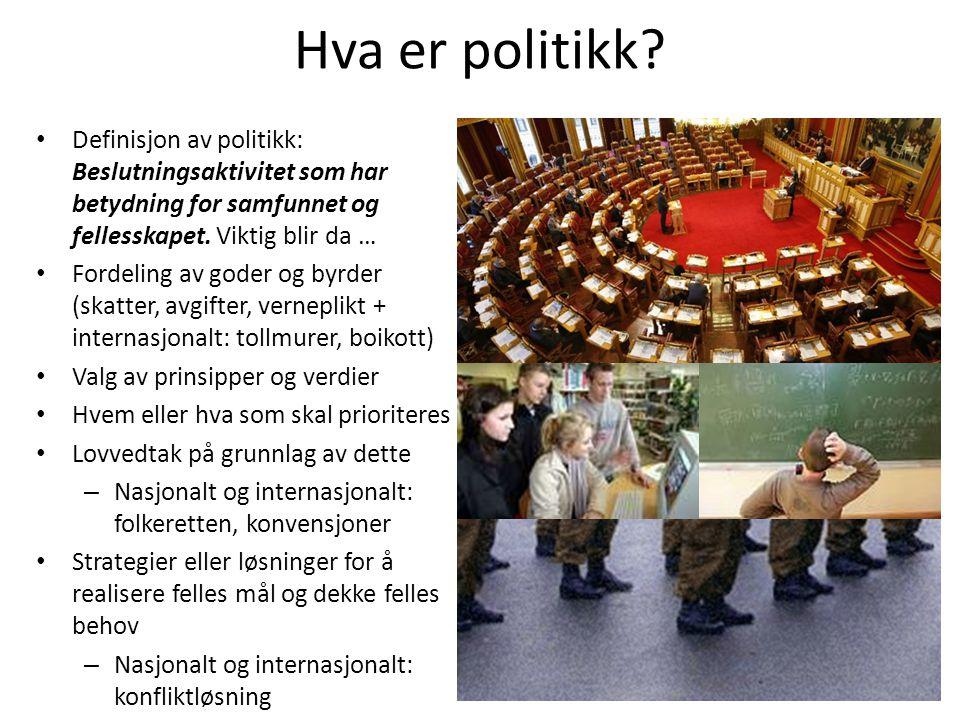 Hva er politikk? •D•Definisjon av politikk: Beslutningsaktivitet som har betydning for samfunnet og fellesskapet. Viktig blir da … •F•Fordeling av god