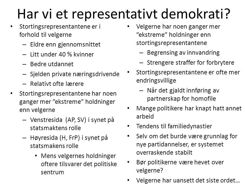 Har vi et representativt demokrati? • Stortingsrepresentantene er i forhold til velgerne – Eldre enn gjennomsnittet – Litt under 40 % kvinner – Bedre