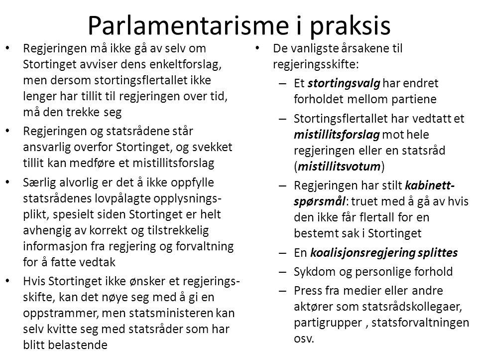 Parlamentarisme i praksis • Regjeringen må ikke gå av selv om Stortinget avviser dens enkeltforslag, men dersom stortingsflertallet ikke lenger har ti