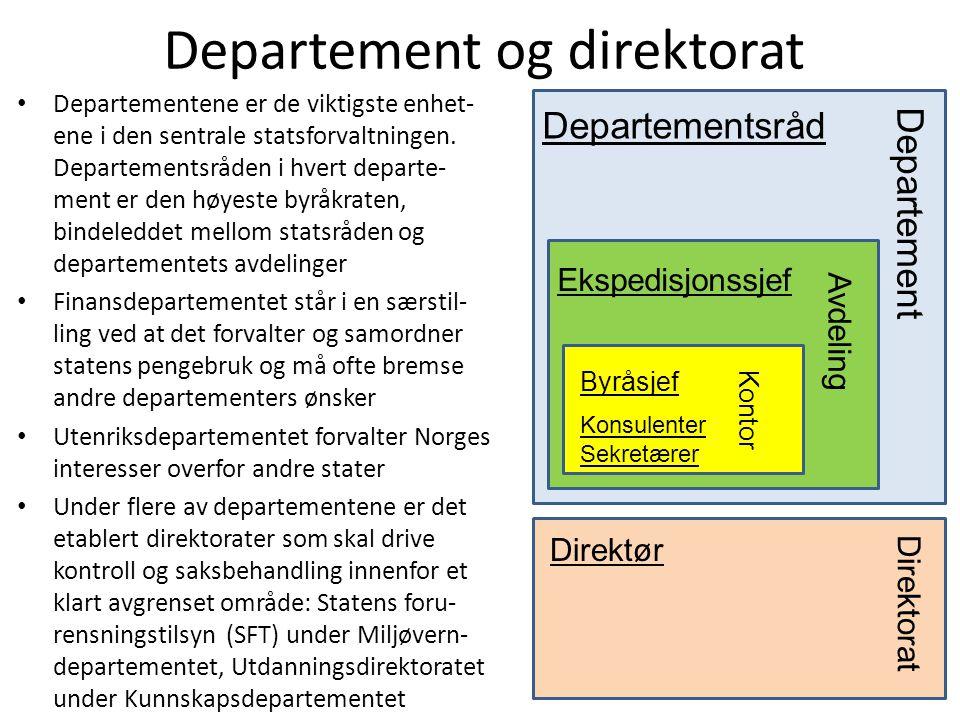 Departement og direktorat • Departementene er de viktigste enhet- ene i den sentrale statsforvaltningen. Departementsråden i hvert departe- ment er de