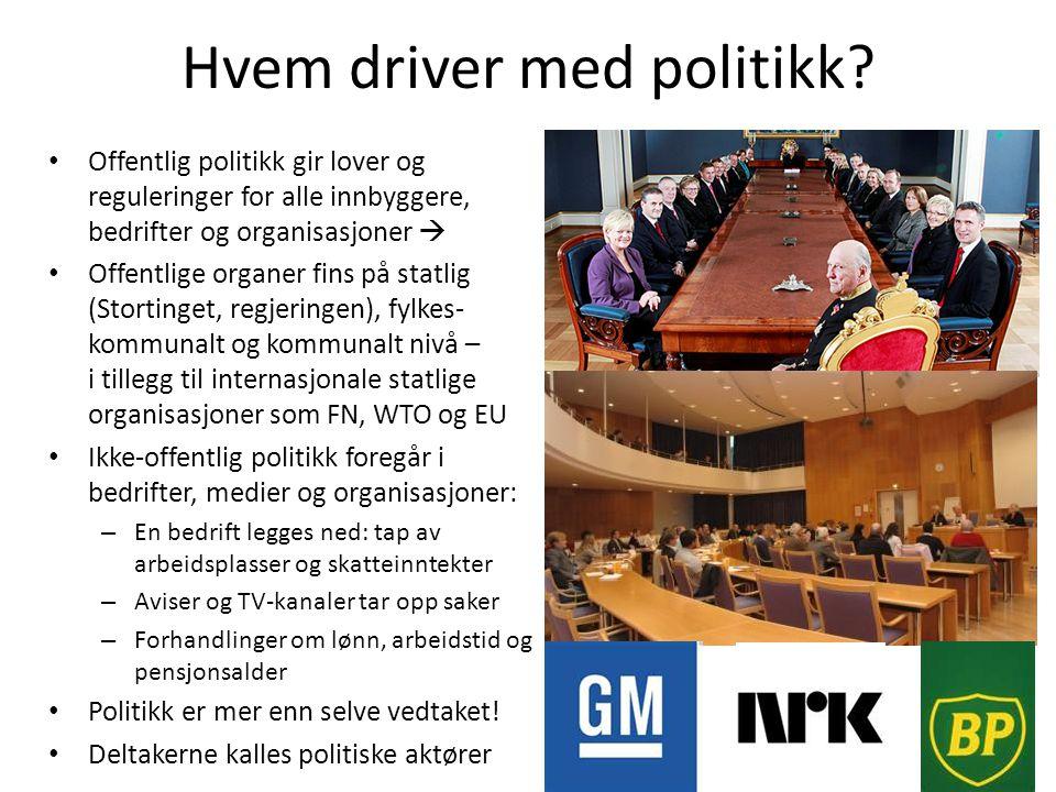 Hvem driver med politikk? • Offentlig politikk gir lover og reguleringer for alle innbyggere, bedrifter og organisasjoner  • Offentlige organer fins