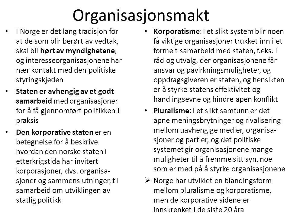 Organisasjonsmakt • I Norge er det lang tradisjon for at de som blir berørt av vedtak, skal bli hørt av myndighetene, og interesseorganisasjonene har
