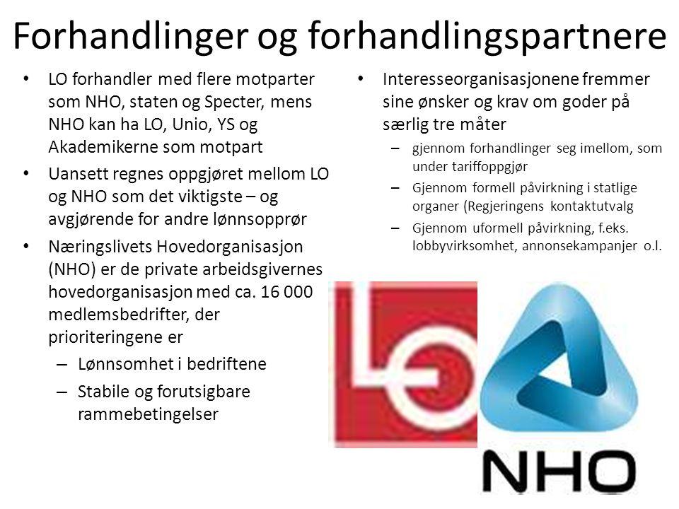 Forhandlinger og forhandlingspartnere • LO forhandler med flere motparter som NHO, staten og Specter, mens NHO kan ha LO, Unio, YS og Akademikerne som