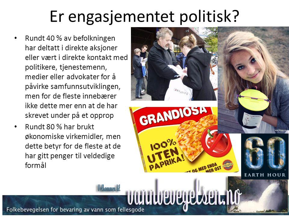 Er engasjementet politisk? • Rundt 40 % av befolkningen har deltatt i direkte aksjoner eller vært i direkte kontakt med politikere, tjenestemenn, medi