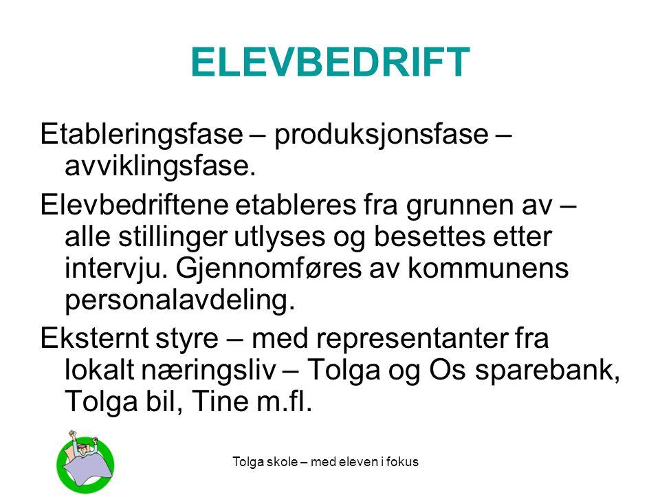 Tolga skole – med eleven i fokus ELEVBEDRIFT Etableringsfase – produksjonsfase – avviklingsfase. Elevbedriftene etableres fra grunnen av – alle stilli