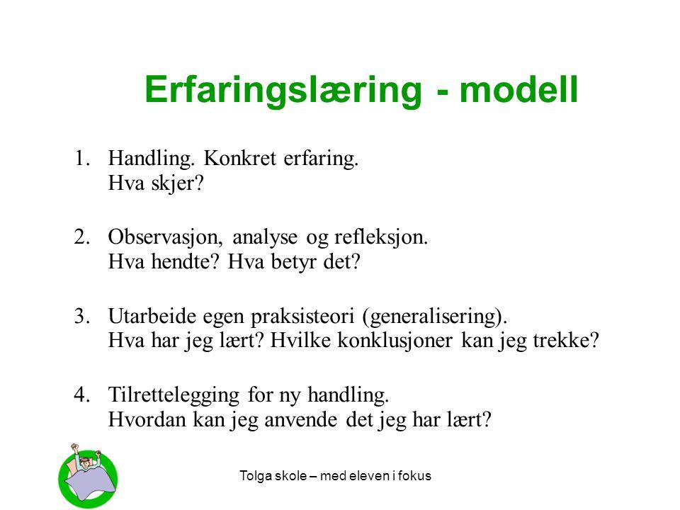 Tolga skole – med eleven i fokus Erfaringslæring - modell 1.Handling. Konkret erfaring. Hva skjer? 2.Observasjon, analyse og refleksjon. Hva hendte? H