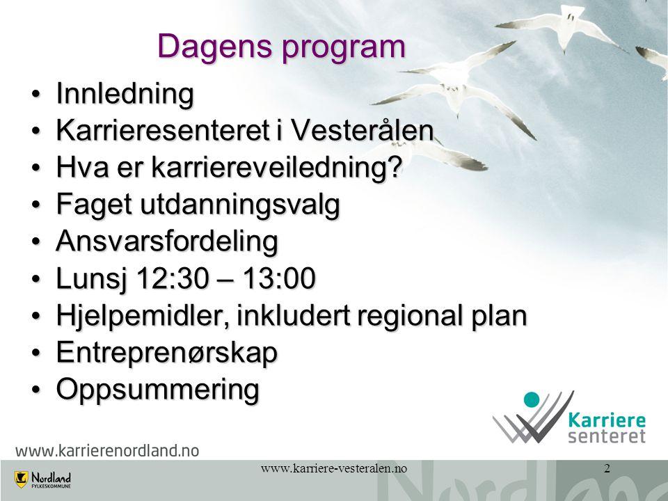 www.karriere-vesteralen.no33 Praksiskurs - Videregående skole sitt ansvar Videregående skole lager en undervisningsdag for elevene i 10.