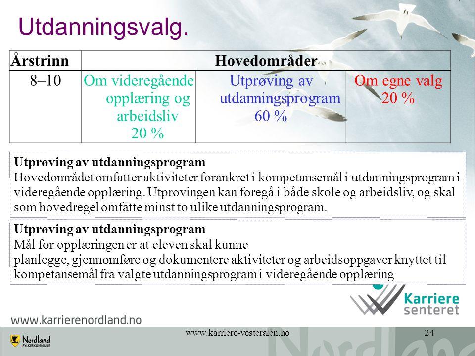 www.karriere-vesteralen.no24 Utdanningsvalg. ÅrstrinnHovedområder 8–10Om videregående opplæring og arbeidsliv 20 % Utprøving av utdanningsprogram 60 %