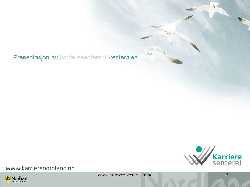 www.karriere-vesteralen.no14 Hva er forskjell på: RådgivningVeiledningCoaching LærerstyrtIndivid/elevstyrt