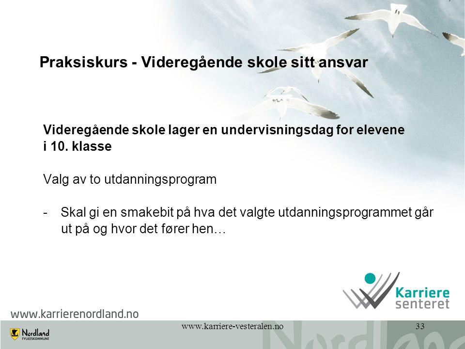 www.karriere-vesteralen.no33 Praksiskurs - Videregående skole sitt ansvar Videregående skole lager en undervisningsdag for elevene i 10. klasse Valg a