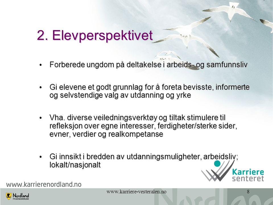 www.karriere-vesteralen.no19 Hva er viktig for deg i valg av utdanning og yrke.