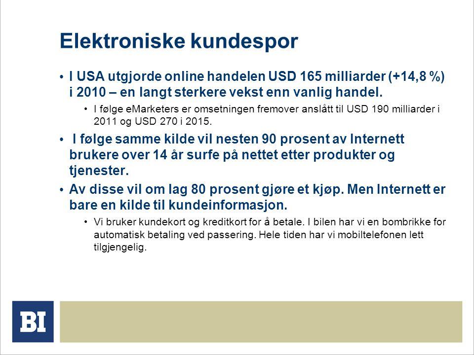 Elektroniske kundespor • I USA utgjorde online handelen USD 165 milliarder (+14,8 %) i 2010 – en langt sterkere vekst enn vanlig handel.