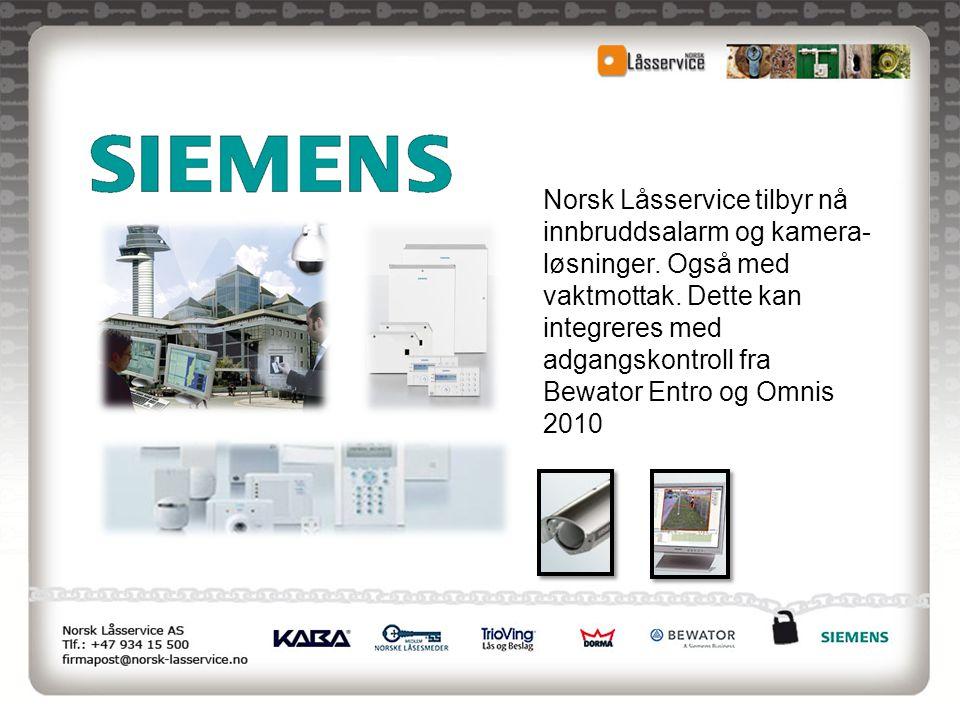 Norsk Låsservice tilbyr nå innbruddsalarm og kamera- løsninger. Også med vaktmottak. Dette kan integreres med adgangskontroll fra Bewator Entro og Omn