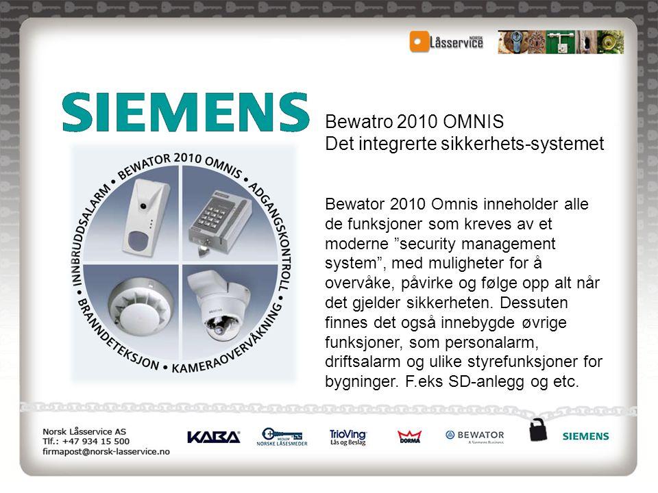 """Bewatro 2010 OMNIS Det integrerte sikkerhets-systemet Bewator 2010 Omnis inneholder alle de funksjoner som kreves av et moderne """"security management s"""
