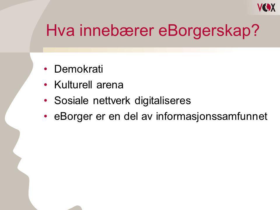 Hva innebærer eBorgerskap? •Demokrati •Kulturell arena •Sosiale nettverk digitaliseres •eBorger er en del av informasjonssamfunnet