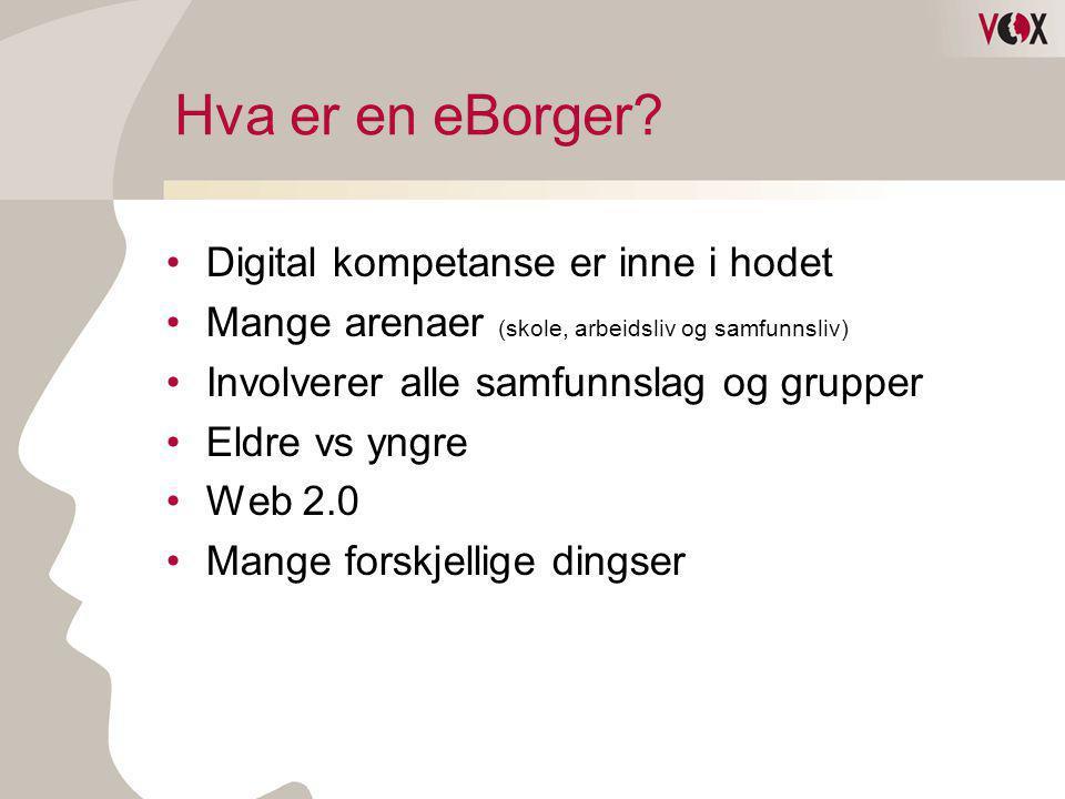 Hva er en eBorger? •Digital kompetanse er inne i hodet •Mange arenaer (skole, arbeidsliv og samfunnsliv) •Involverer alle samfunnslag og grupper •Eldr