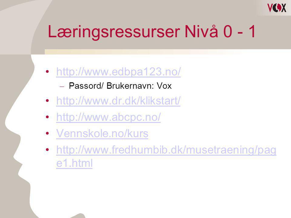 Læringsressurser Nivå 0 - 1 •http://www.edbpa123.no/http://www.edbpa123.no/ – Passord/ Brukernavn: Vox •http://www.dr.dk/klikstart/http://www.dr.dk/kl