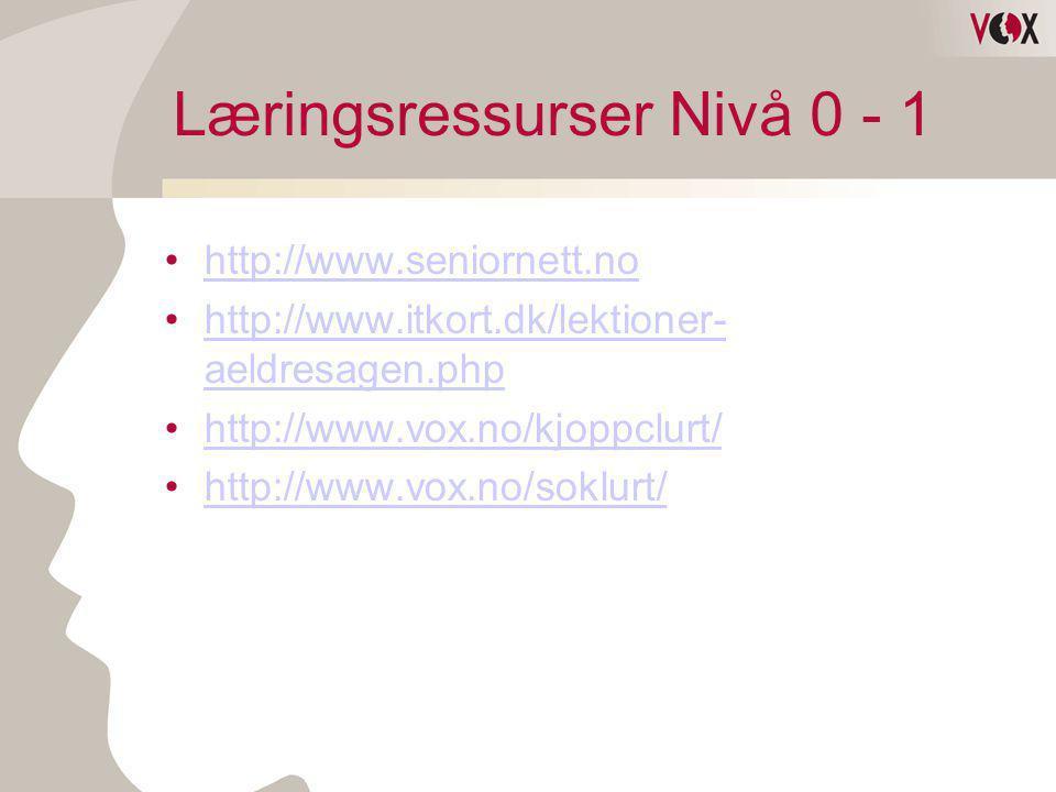 Læringsressurser Nivå 0 - 1 •http://www.seniornett.nohttp://www.seniornett.no •http://www.itkort.dk/lektioner- aeldresagen.phphttp://www.itkort.dk/lek
