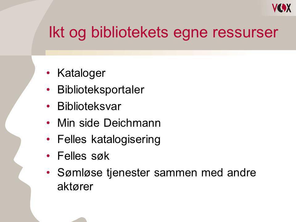 Ikt og bibliotekets egne ressurser •Kataloger •Biblioteksportaler •Biblioteksvar •Min side Deichmann •Felles katalogisering •Felles søk •Sømløse tjene