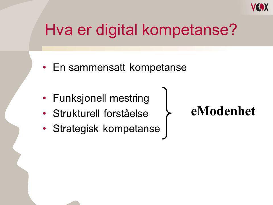 Hva er digital kompetanse? •En sammensatt kompetanse •Funksjonell mestring •Strukturell forståelse •Strategisk kompetanse eModenhet