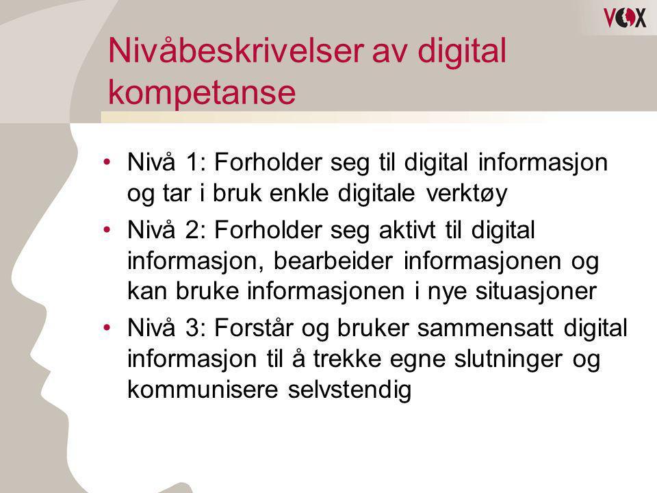 Borger og bruker •Tilgang ikke noe problem •Manglende kunnskap = utestengt •Digitale skiller oppstår mellom de som behersker og de som ikke behersker •På nivå 0 og 1 = 27 % •Interesser og behov er det som driver •Behov i dagliglivet mer enn arbeidslivet •Vi er bedre enn Danskene