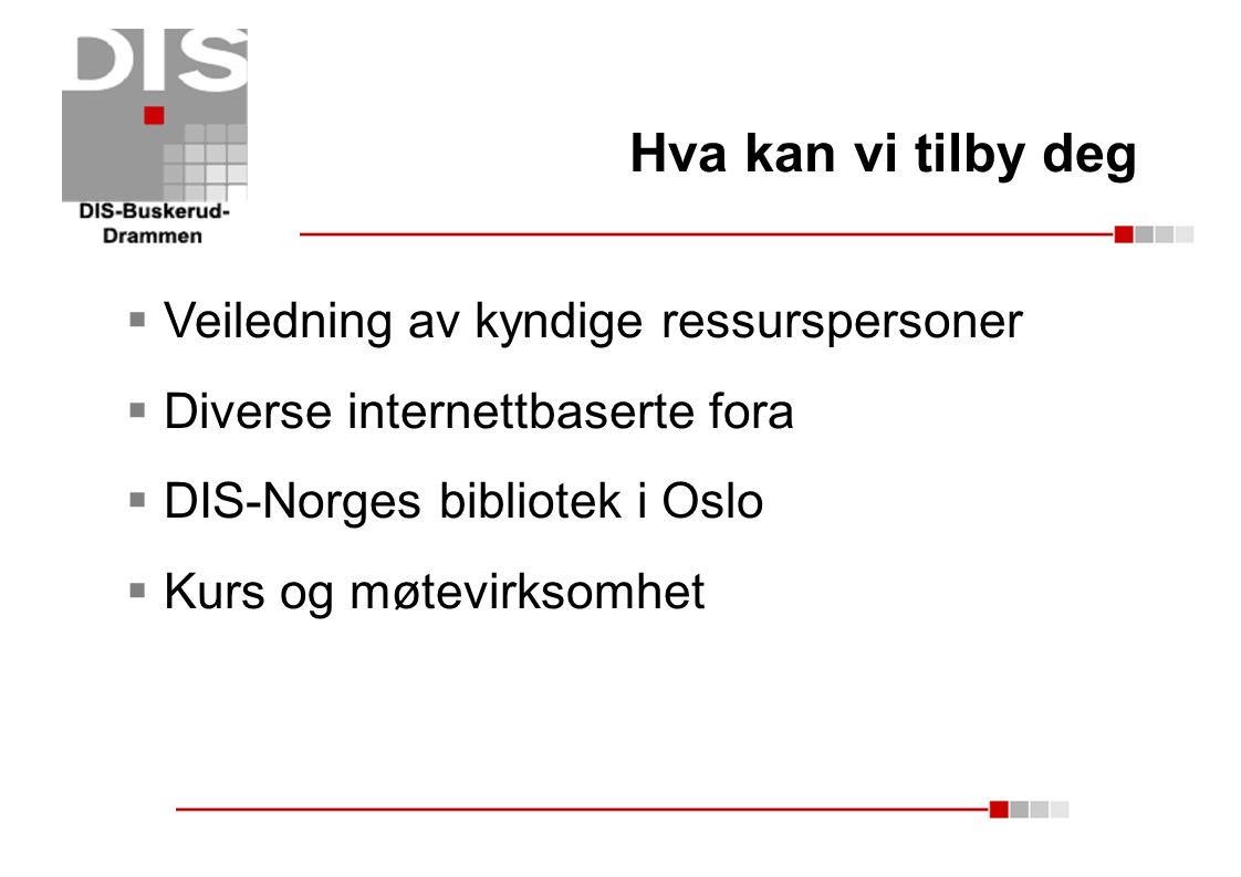 Hva kan vi tilby deg  Veiledning av kyndige ressurspersoner  Diverse internettbaserte fora  DIS-Norges bibliotek i Oslo  Kurs og møtevirksomhet