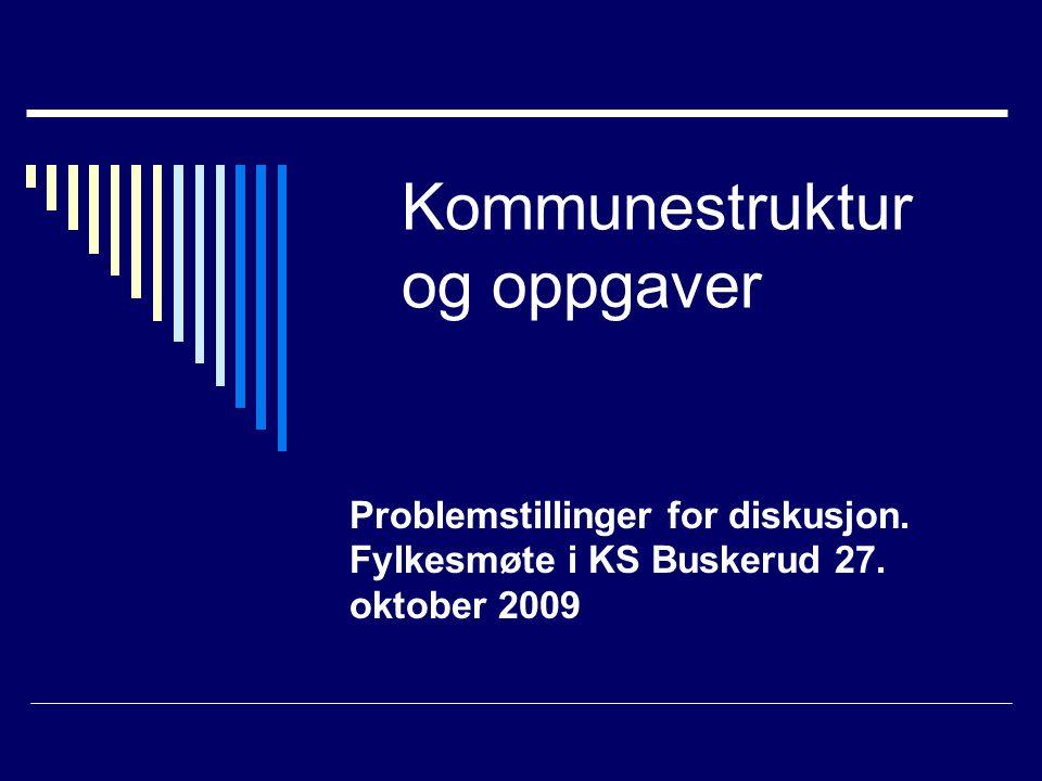 Kommunestruktur og oppgaver Problemstillinger for diskusjon. Fylkesmøte i KS Buskerud 27. oktober 2009