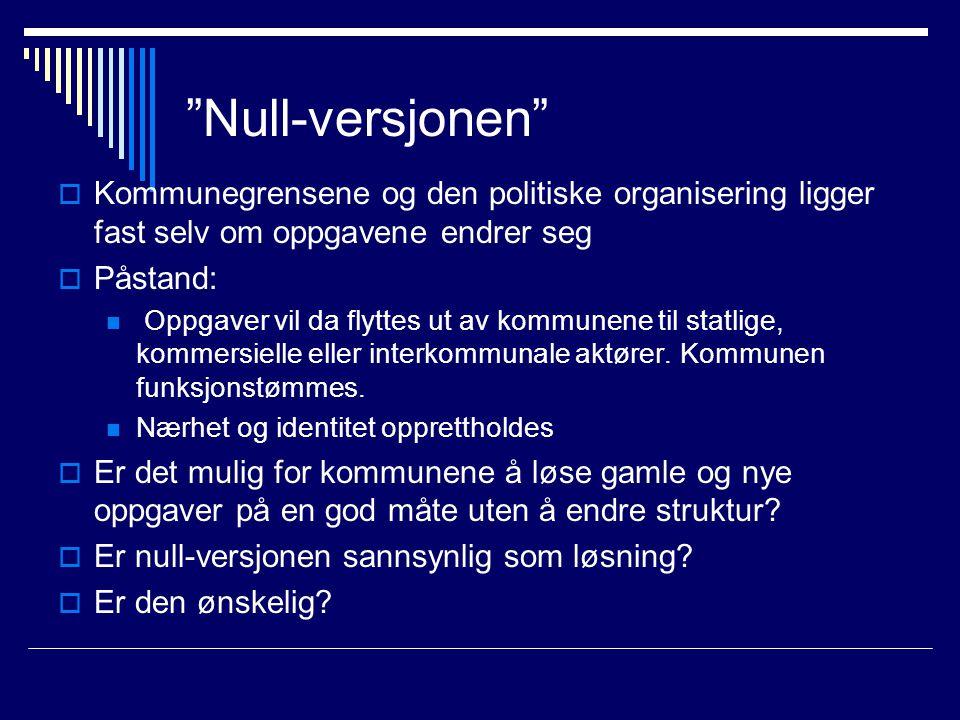 """""""Null-versjonen""""  Kommunegrensene og den politiske organisering ligger fast selv om oppgavene endrer seg  Påstand:  Oppgaver vil da flyttes ut av k"""