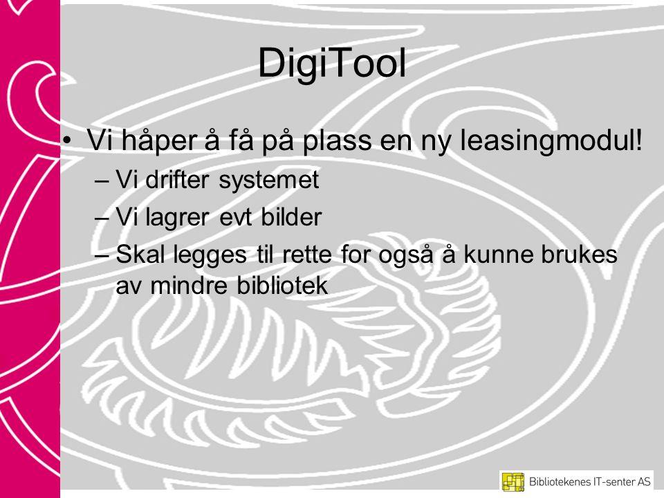 DigiTool •Vi håper å få på plass en ny leasingmodul.