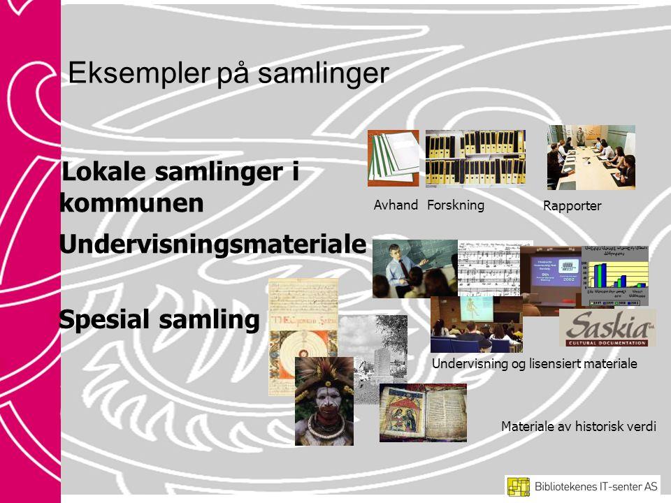 Eksempler på samlinger Lokale samlinger i kommunen AvhandForskning Rapporter Spesial samling Materiale av historisk verdi Undervisningsmateriale Undervisning og lisensiert materiale