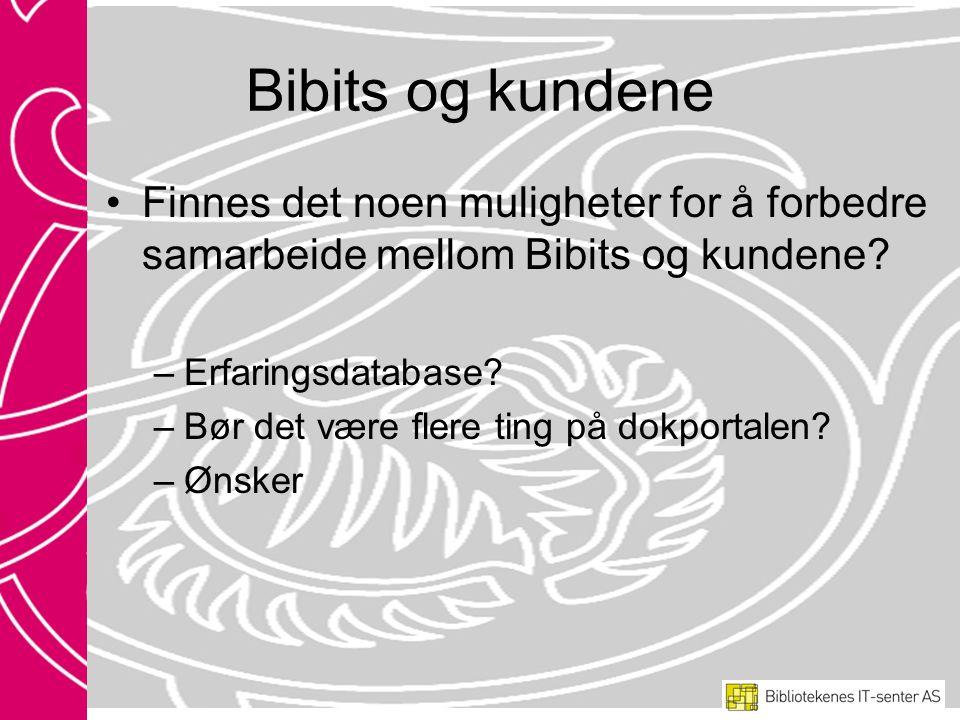 Bibits og kundene •Finnes det noen muligheter for å forbedre samarbeide mellom Bibits og kundene.