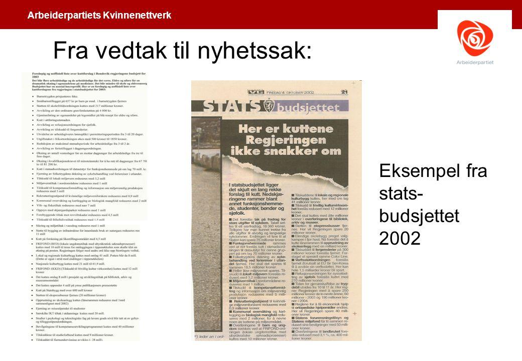 Arbeiderpartiets Kvinnenettverk Fra vedtak til nyhetssak: Eksempel fra stats- budsjettet 2002