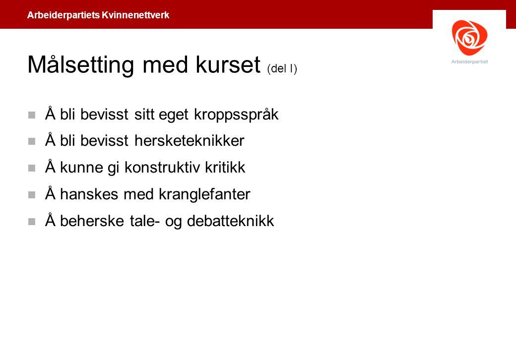 Arbeiderpartiets Kvinnenettverk Kroppsspråket (1) n Høystatus – Eier sine omgivelser og blir ofte midtpunkt.