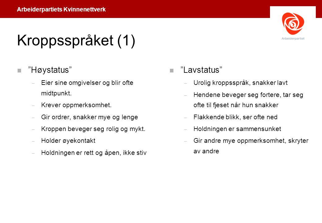 """Arbeiderpartiets Kvinnenettverk Kroppsspråket (1) n """"Høystatus"""" – Eier sine omgivelser og blir ofte midtpunkt. – Krever oppmerksomhet. – Gir ordrer, s"""