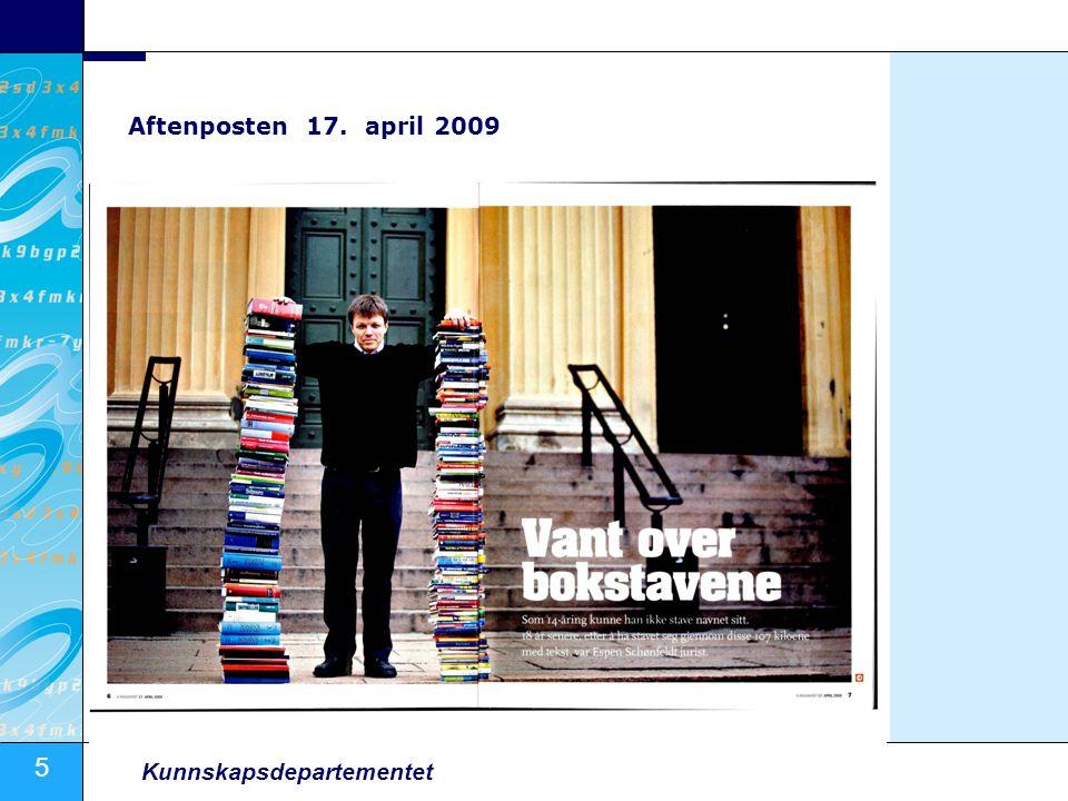 5 Kunnskapsdepartementet Aftenposten 17. april 2009