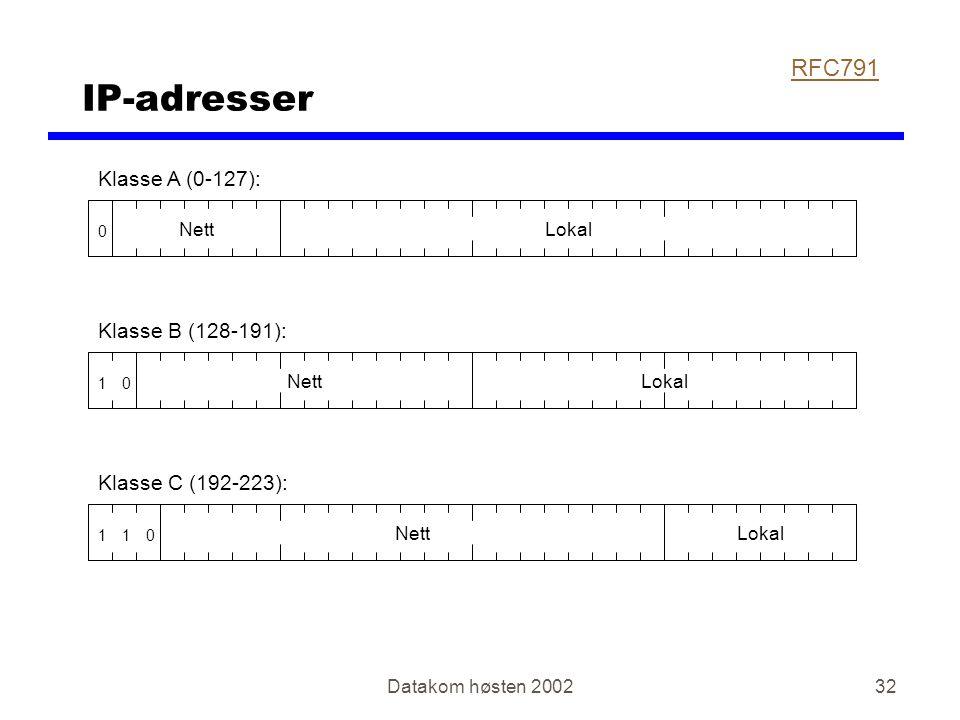 Datakom høsten 200232 IP-adresser 0 NettLokal Klasse A (0-127): 01 NettLokal Klasse B (128-191): 011 NettLokal Klasse C (192-223): RFC791