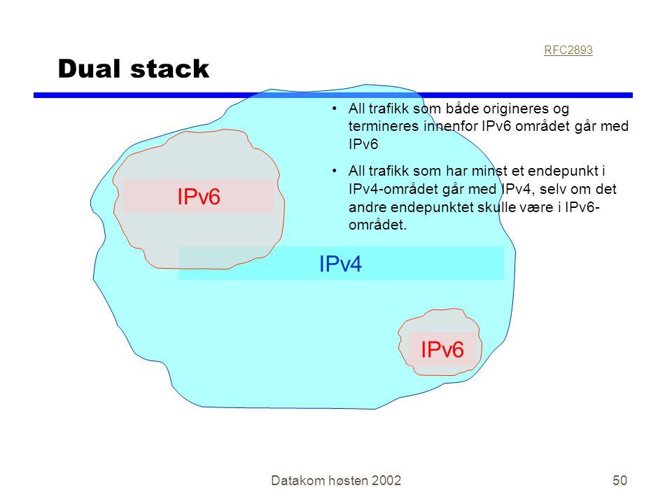 Datakom høsten 200250 IPv4 Dual stack IPv6 RFC2893 •All trafikk som både origineres og termineres innenfor IPv6 området går med IPv6 •All trafikk som
