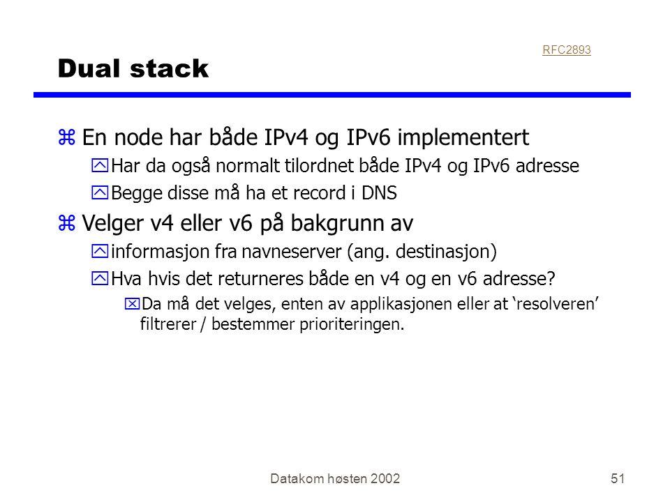 Datakom høsten 200251 Dual stack zEn node har både IPv4 og IPv6 implementert yHar da også normalt tilordnet både IPv4 og IPv6 adresse yBegge disse må