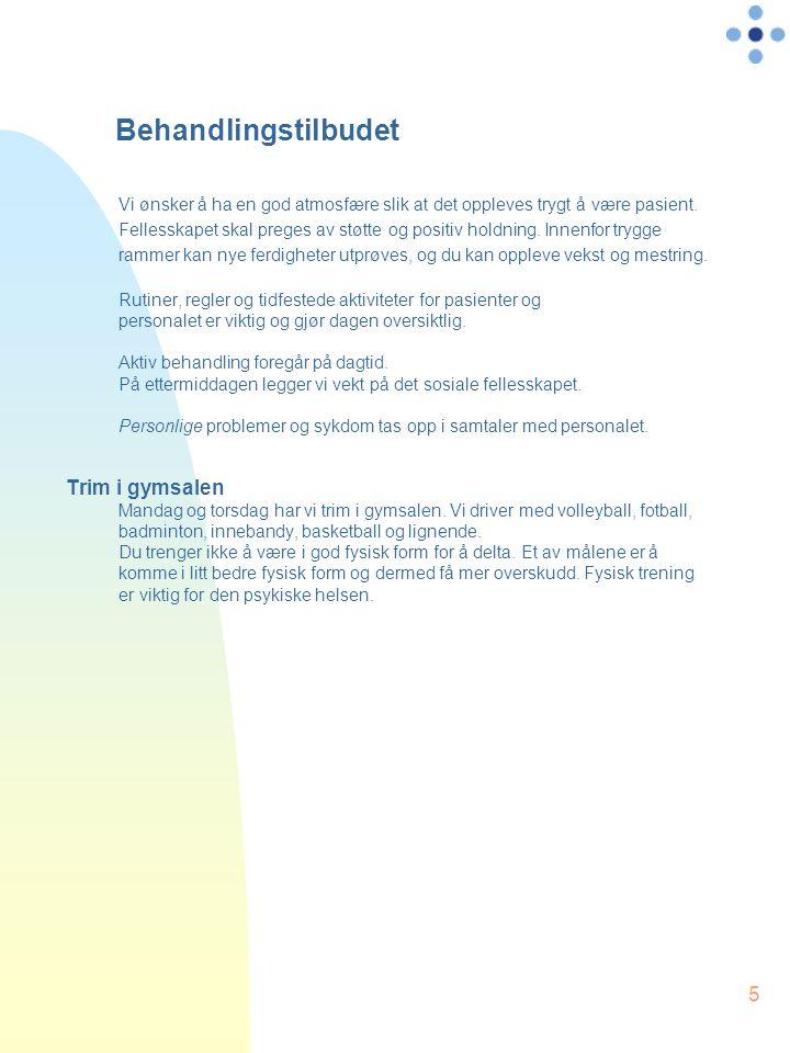 5 Behandlingstilbudet Vi ønsker å ha en god atmosfære slik at det oppleves trygt å være pasient. Fellesskapet skal preges av støtte og positiv holdnin