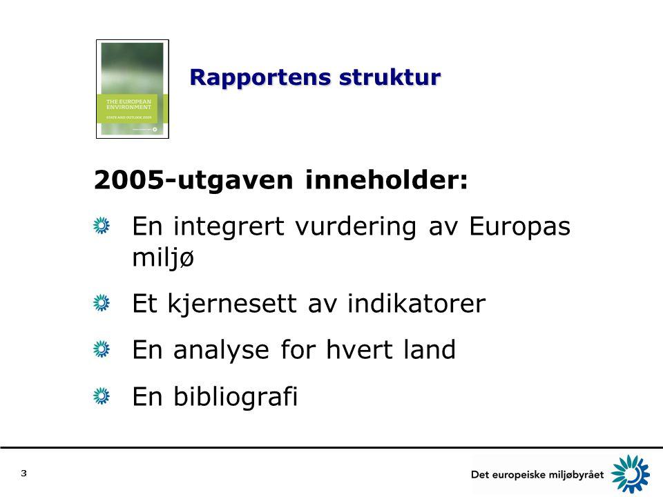 3 Rapportens struktur 2005-utgaven inneholder: En integrert vurdering av Europas miljø Et kjernesett av indikatorer En analyse for hvert land En bibliografi