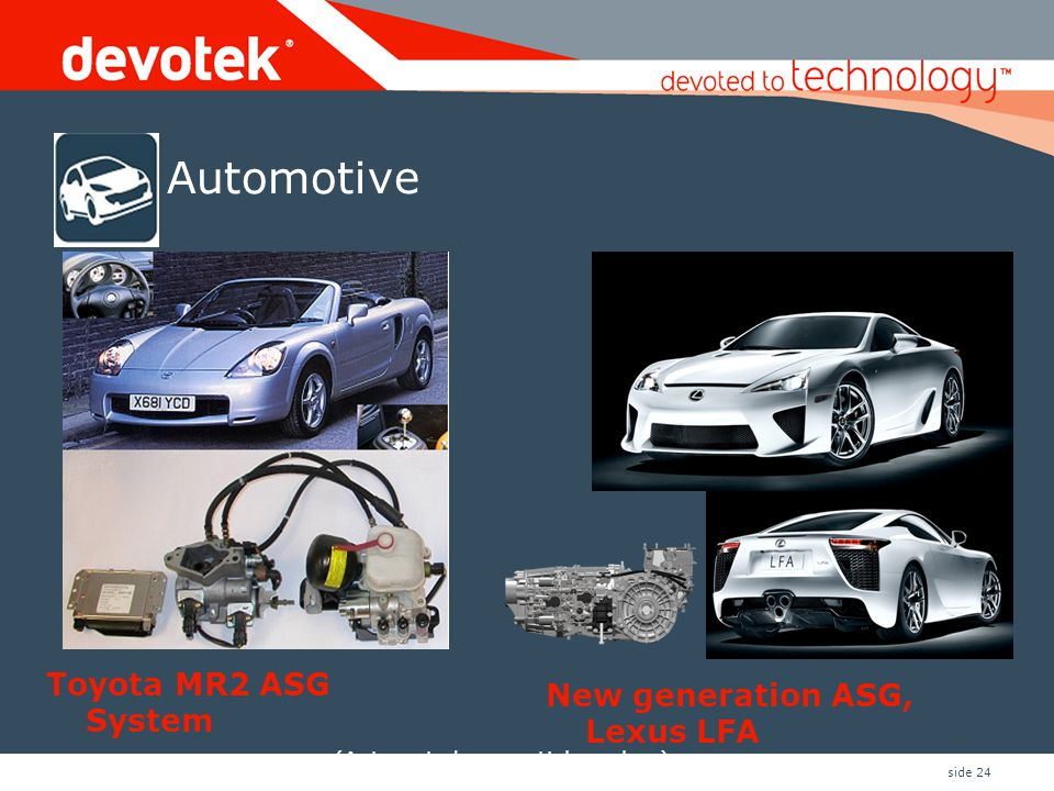 side 24 Automotive New generation ASG, Lexus LFA Toyota MR2 ASG System (Automated sequential gearbox)