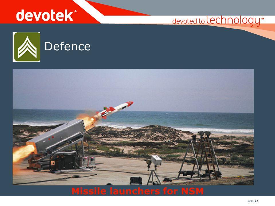 side 41 Missile launchers for NSM Defence