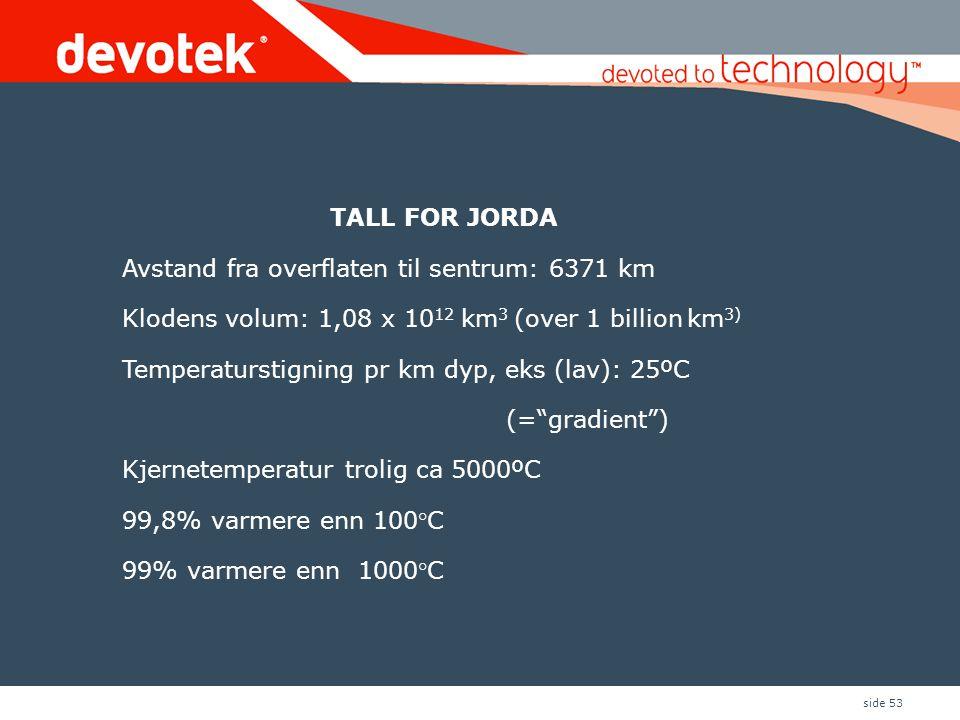 side 53 TALL FOR JORDA Avstand fra overflaten til sentrum: 6371 km Klodens volum: 1,08 x 10 12 km 3 (over 1 billion km 3) Temperaturstigning pr km dyp, eks (lav): 25ºC (= gradient ) Kjernetemperatur trolig ca 5000ºC 99,8% varmere enn 100°C 99% varmere enn 1000°C