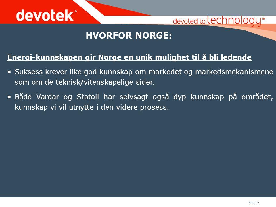 side 67 Energi-kunnskapen gir Norge en unik mulighet til å bli ledende •Suksess krever like god kunnskap om markedet og markedsmekanismene som om de teknisk/vitenskapelige sider.