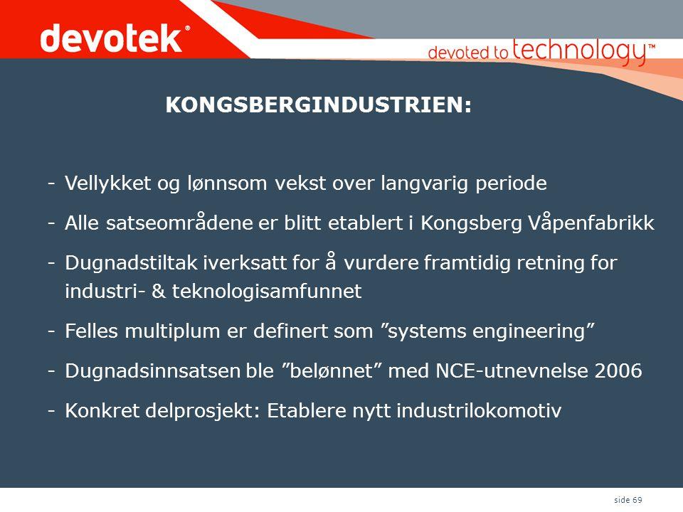 side 69 -Vellykket og lønnsom vekst over langvarig periode -Alle satseområdene er blitt etablert i Kongsberg Våpenfabrikk -Dugnadstiltak iverksatt for